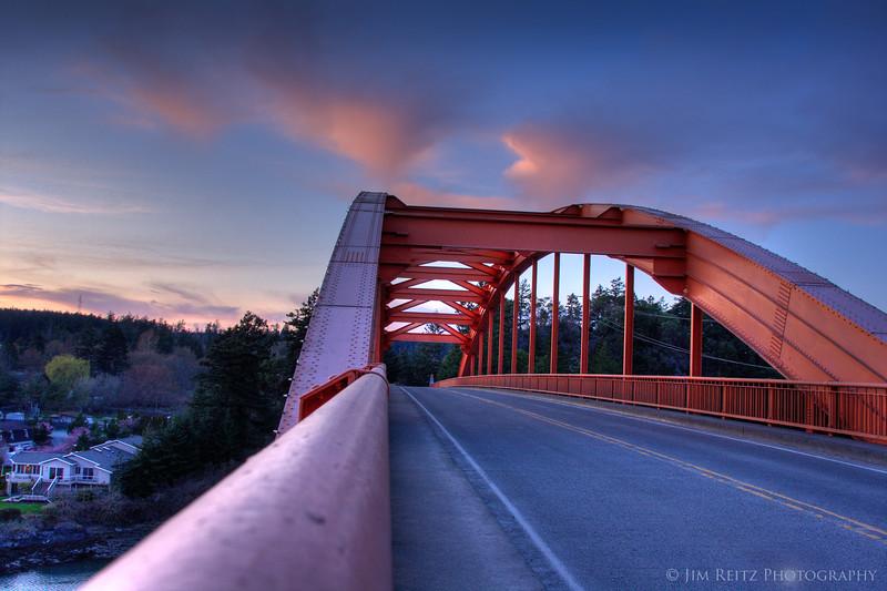 La Conner bridge at sunset.
