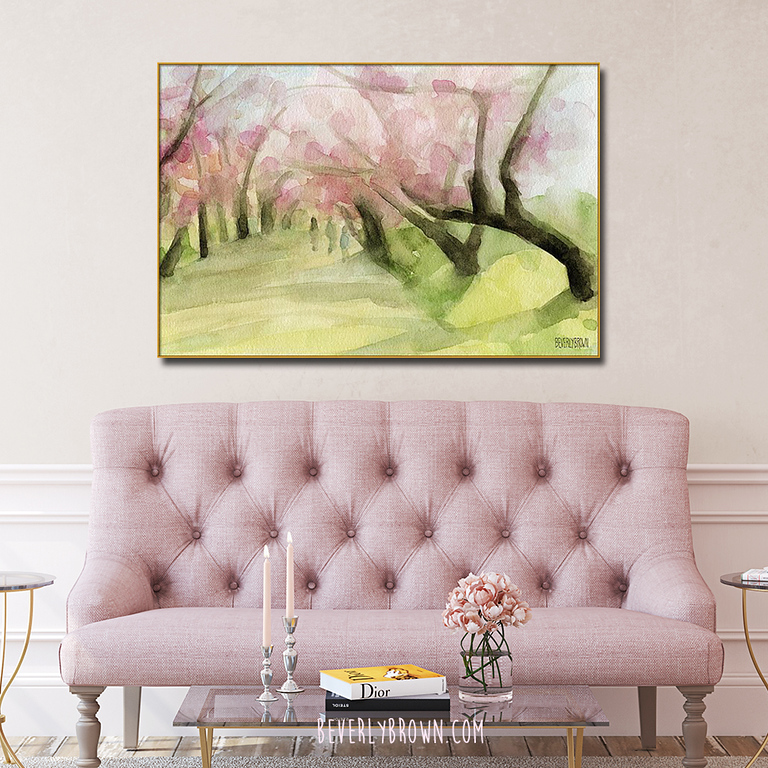 Cherry Blossom Trees in Central Park NYC over a pink love seat in a classic living room