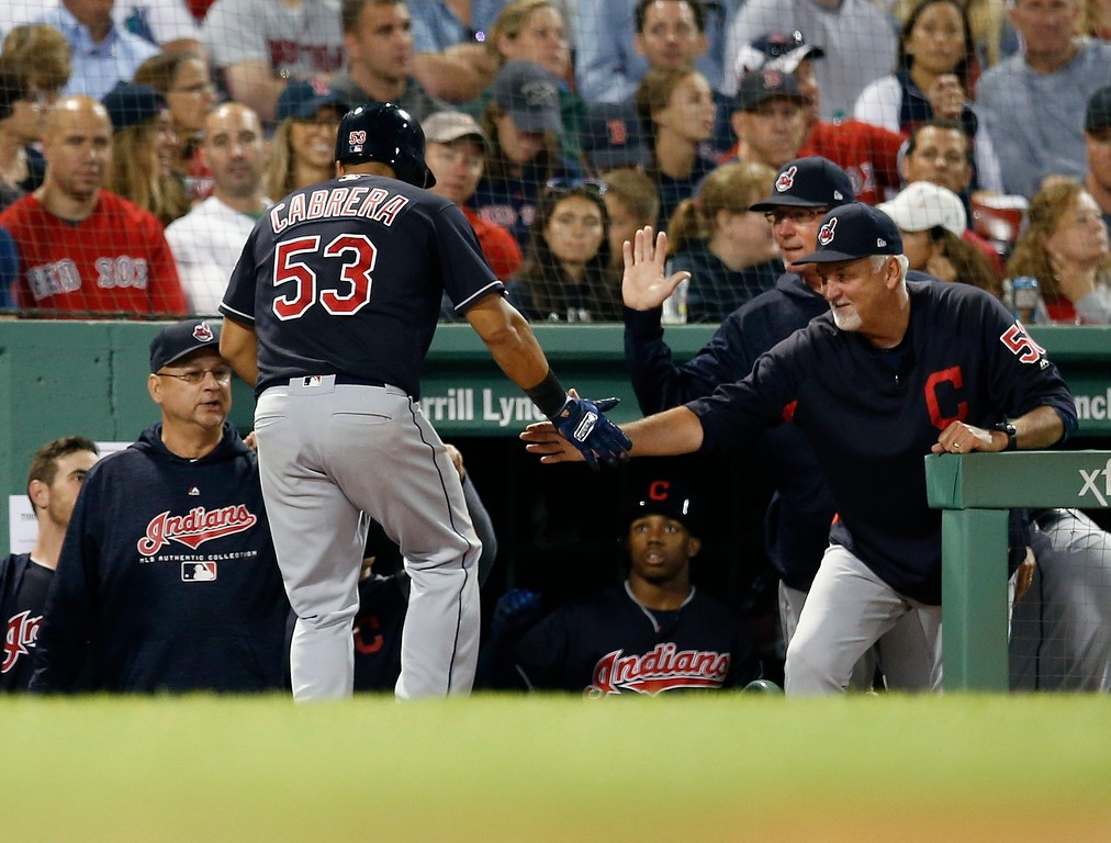 . Cleveland Indians\' Melky Cabrera (53) celebrates his solo home run during the sixth inning of a baseball game against the Boston Red Sox in Boston, Tuesday, Aug. 21, 2018. (AP Photo/Michael Dwyer)