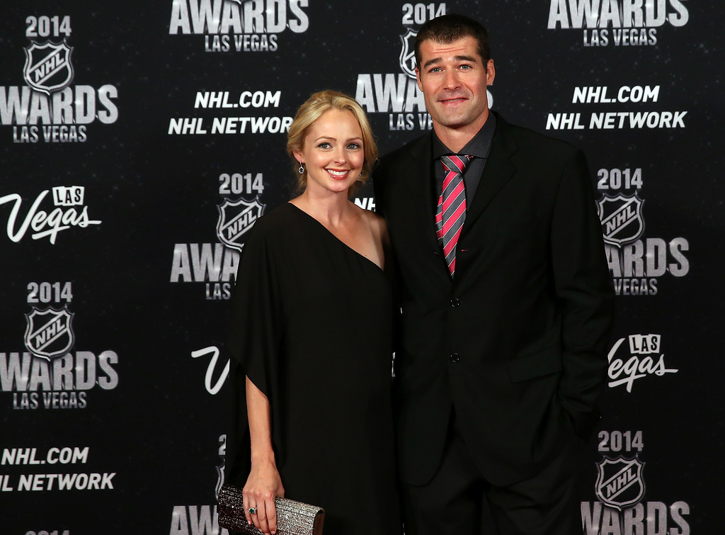 . Patrick Marleau of the San Jose Sharks with his wife Christina arrive on the red carpet prior to the 2014 NHL Awards at Encore Las Vegas on June 24, 2014 in Las Vegas, Nevada.  (Photo by Bruce Bennett/Getty Images)