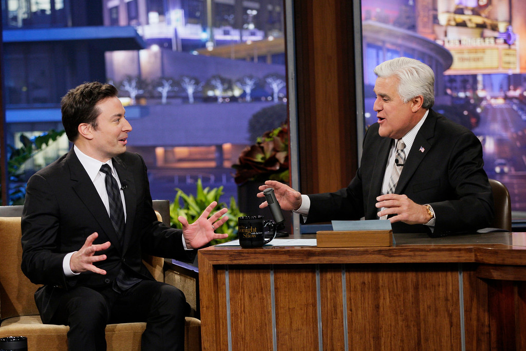 ". This Monday, February 3, 2014 photo provided by NBC shows, Jimmy Fallon, left, and Jay Leno on season 22 of NBC\'s ""The Tonight Show with Jay Leno.\"" On Thursday, Feb. 6, 2014, Leno, 63, is stepping down for the second and presumably last time, making way for his successor, Fallon, in New York. Fallon, 39, starts his \""Tonight\"" Feb. 17, with NBC hoping he rides the promotional wave of its Winter Olympics coverage. (AP Photo/NBC, Chris Haston)"