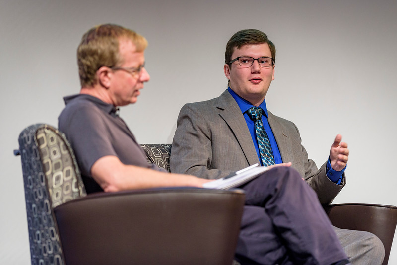 Brad Pushkar, editor-in-chief of the Purdue Exponent, speaks on a panel during the second day of the Dawn Or Doom conference in Fowler Hall. (Purdue University Photo/Alex Kumar)(Purdue University Photo/Alex Kumar)