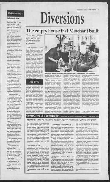 Daily Trojan, Vol. 129, No. 29, October 09, 1996