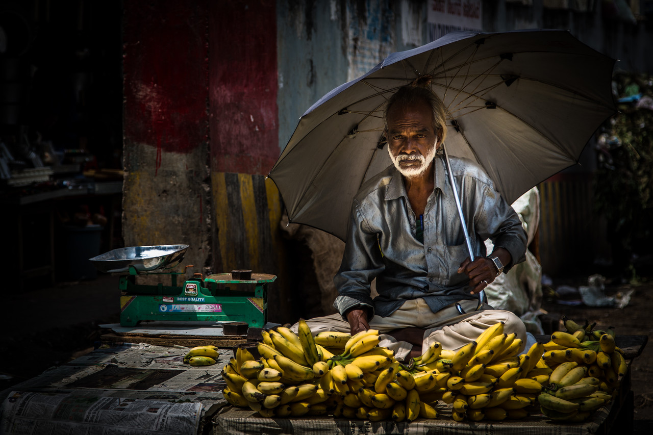"""Banana Guy"" in Bangalore market"