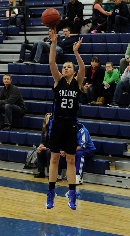 . PARKER, CO. - FEBRUARY 15: Falcons guard Shelby Hickey (23) found an open look for outside in the second half. The Highlands Ranch High School girls\'s basketball team defeated Legend 76-31 Friday night, February 15, 2013. Falcon\'s coach Caryn Jarocki earned her 500th career win. (Photo By Karl Gehring/The Denver Post)