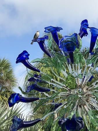Bird on Blue Glass