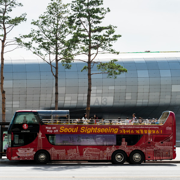 Open-air Tour Bus on street, Dongdaemun History and Culture Park,, Seoul, South Korea