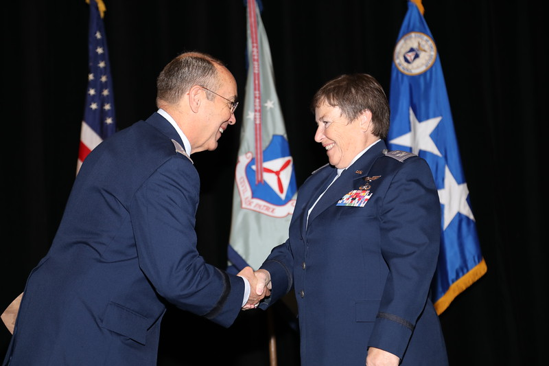 The Character Development Instructor of the Year recognizes a CAP member who has brought credit to the Chaplain Service and CAP by a high level of excellence in providing character development to cadets.  This year's winner is 1st Lt Julie Margeson.  Lt Margeson could not be present, so accepting on her behalf is Col Carol Lynn, NVWG CC.  Photo by Susan Schneider, CAPNHQ