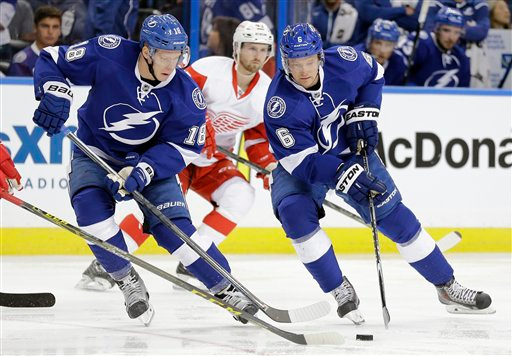 . Tampa Bay Lightning left wing Ondrej Palat (18), of the Czech Republic, and defenseman Anton Stralman (6), of Sweden, move the puck against the Detroit Red Wings during the second period of Game 1 of an NHL Eastern Conference playoff hockey series Thursday, April 16, 2015, in Tampa, Fla. (AP Photo/Chris O\'Meara)
