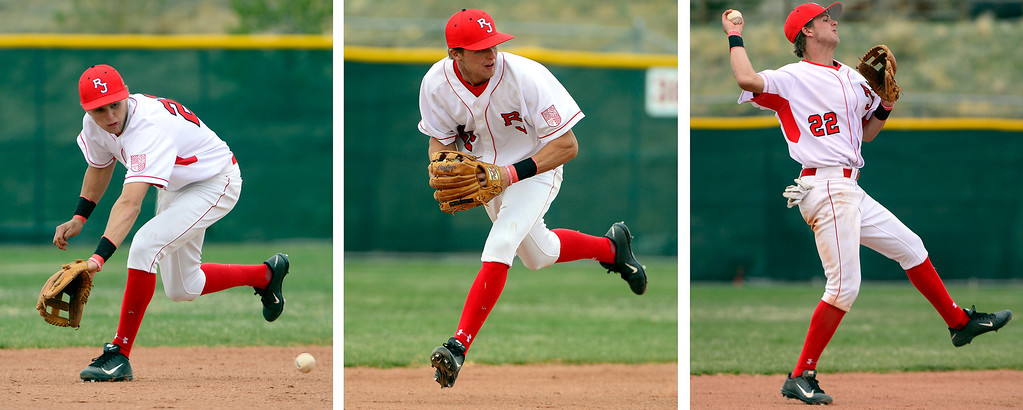 . PARKER, CO - APRIL 29: Regis Jesuit shortstop Brody Weiss makes a run-saving stop -- which left the bases loaded resulting in no runs scored -- during the team\'s final home game. Weiss is the son of Colorado Rockies manager Walt Weiss. (Photo by AAron Ontiveroz/The Denver Post)