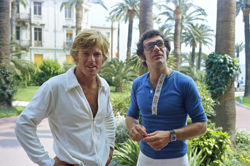 ". American Actor Robert Redford and Director Sydney Pollack at the Cannes Film Festival before the presentation of their film ""Jeremiah Johnson\"" on May 6, 1972. (AP Photo/Jean Jacques Levy)"