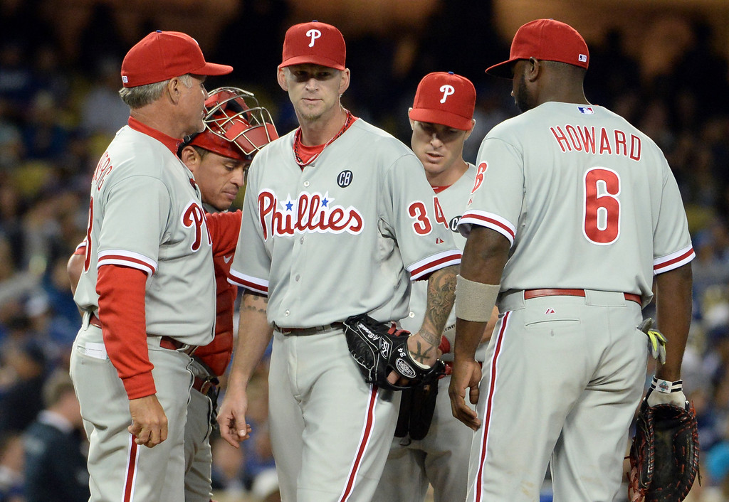. Philadelphia Phillies starting pitcher A.J. Burnett (34) is taken out of the game after giving-up the tying run in the seventh inning of a baseball game against the Los Angeles Dodgers on Tuesday, April 22, 2013 in Los Angeles.   (Keith Birmingham/Pasadena Star-News)