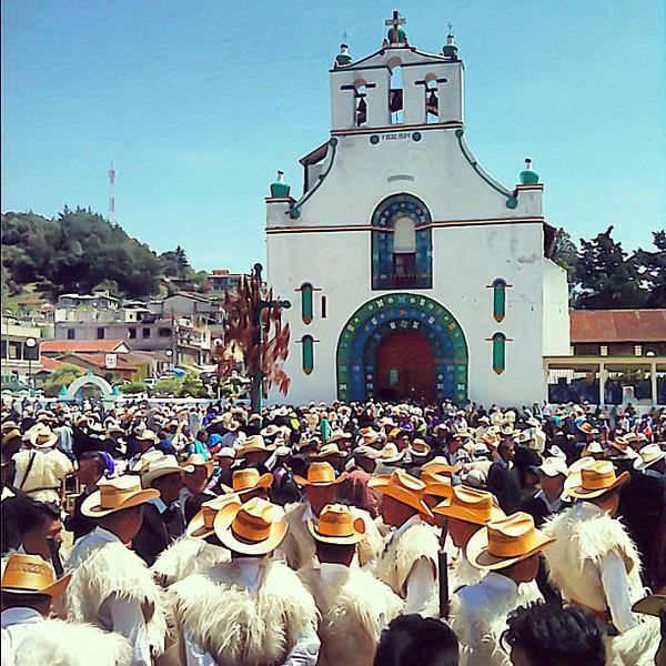 Easter and the white wool cape brigade, San Juan Chamula #Chiapas #Mexico