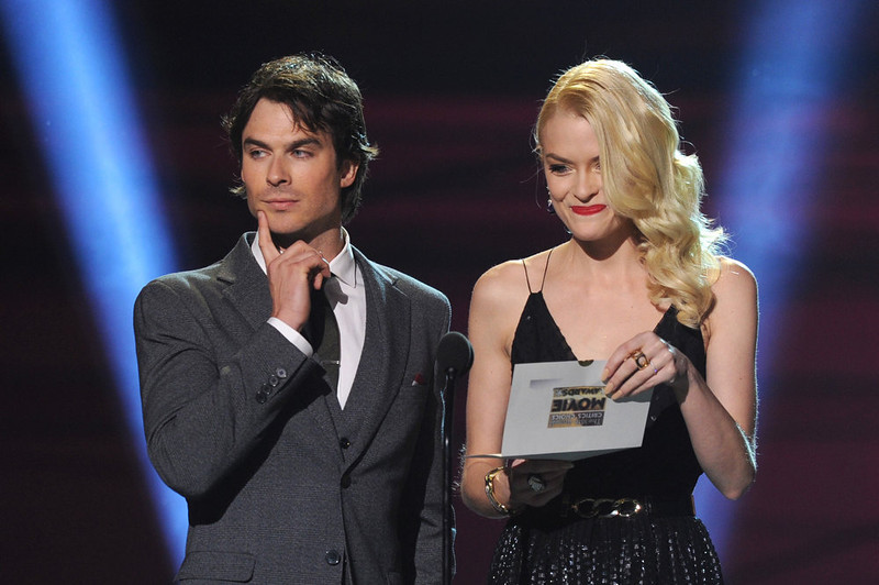 . Presenters Ian Somerhalder (L) and Jaime King speak onstage at the 18th Annual Critics\' Choice Movie Awards held at Barker Hangar on January 10, 2013 in Santa Monica, California.  (Photo by Kevin Winter/Getty Images)
