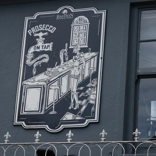 Low angle view of restaurant sign, Kinsale, County Cork, Ireland