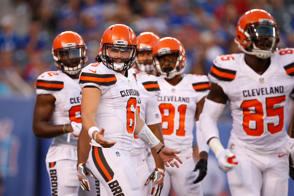 . Cleveland Browns quarterback Baker Mayfield ooks to the sidelines before a play during the first half of a preseason game against the New York Giants on Aug. 9. The Browns\' next preseason game is at FirstEnergy Stadium in Cleveland on Aug. 17. Kickoff is 7:30 p.m. For more information, visit clevelandbrowns.com. (AP Photo/Adam Hunger)