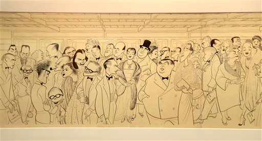 ". A study for ""Broadway First Nighters\"" is displayed in an exhibit on artist Al Hirschfeld at the Library for the Performing Arts in New York, Wednesday, Oct. 16, 2013. The exhibit, which opens Thursday, Oct. 17, 2013, showcases work through Hirschfeld\'s career. (AP Photo/Seth Wenig)"