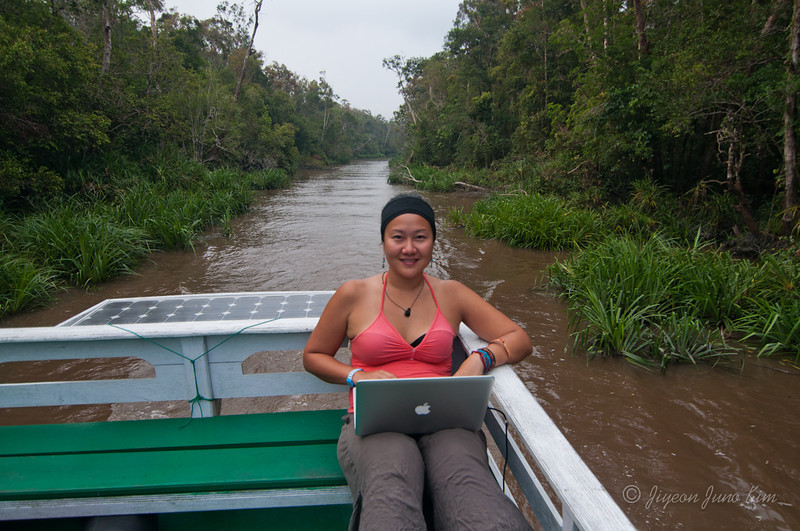 Working on the boat in Borneo