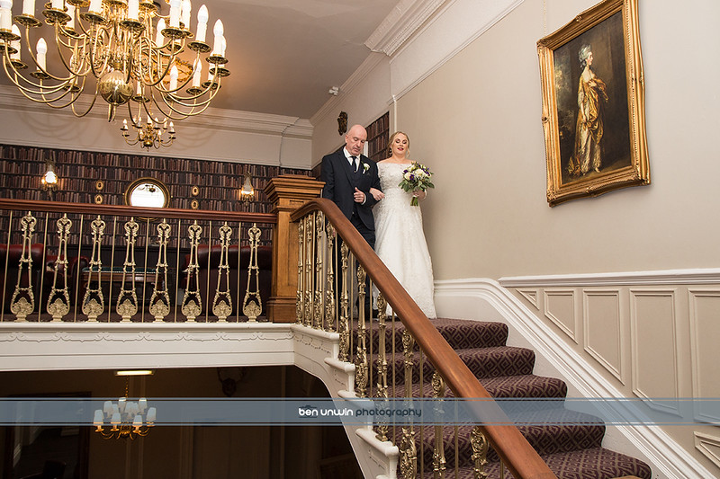 Wedding Bride and father walking downstairs