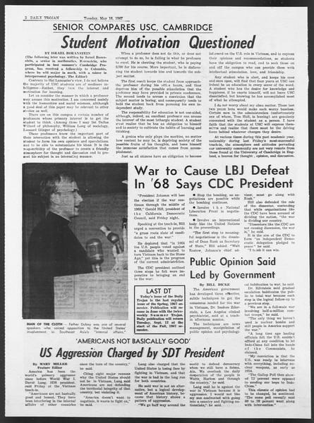 Daily Trojan, Vol. 58, No. 123, May 16, 1967