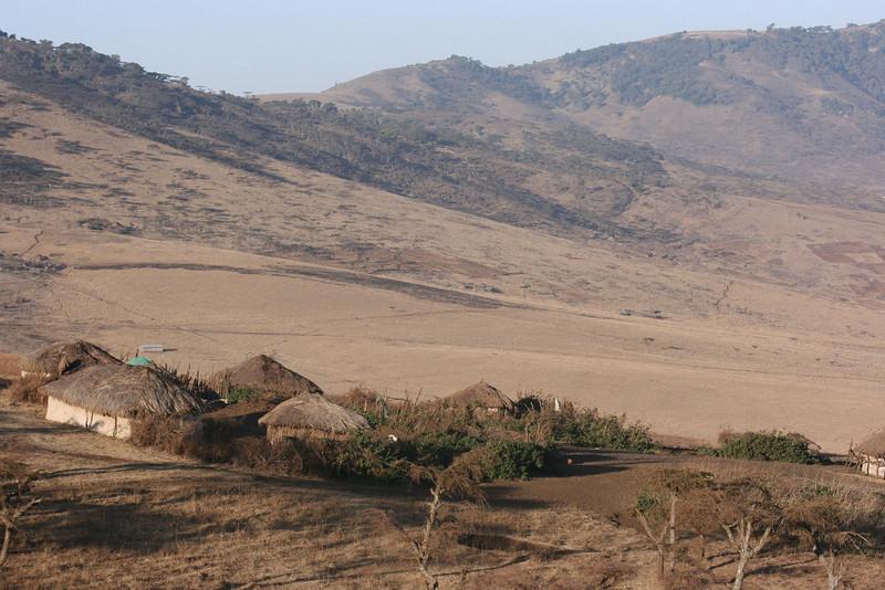 Maasai homes near Ngorongoro Crater