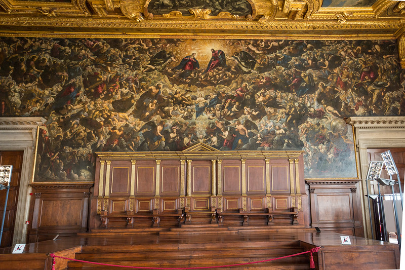 Hanging over the doge's throne is Paradise (Tintoretto, c. 1588) which is said to be the world's largest (74ft x 30ft) oil painting on canvas.