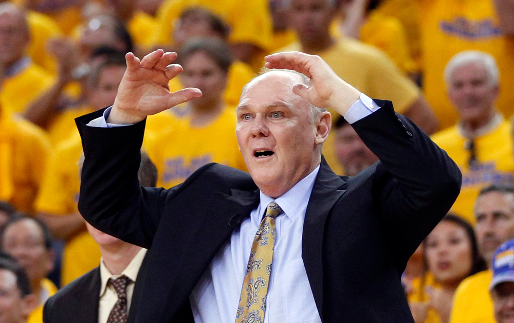 . Denver Nuggets head coach George Karl reacts against the Golden State Warriors during Game 6 of their NBA Western Conference quarter-final playoff basketball game in Oakland, California May 2, 2013. The Warriors won the best-of-seven series 4-2. REUTERS/Robert Galbraith