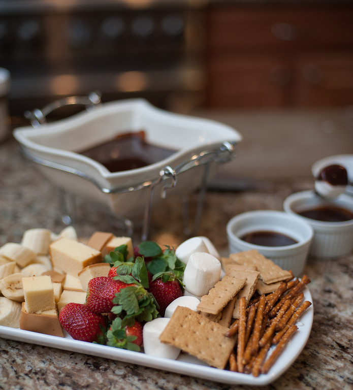 . Chocolate fondue, Nutella fondue and different foods to dip in chocolate are shown at the Market on Main in downtown Mt. Pleasant. (Sun photo by Holly Mahaffey/@hollymahaffey)