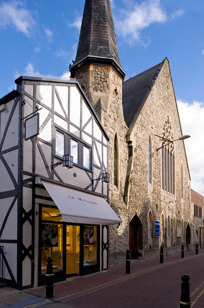 Shop by the church, Kingston upon Thames, Surrey, United KIngdom