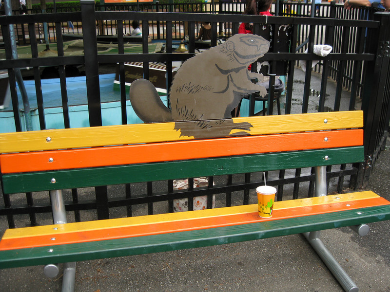 Beaver-themed bench.