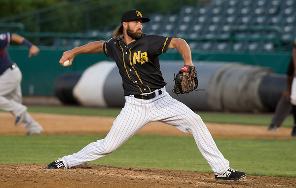 09/03/19 Wesley Bunnell | StaffrrThe New Britain Bees defeated the Somerset Patriots 7-6 in the bottom of the 8th on what was scheduled to be a 7 inning first game of a doubleheader. Brady Dragmire (6).