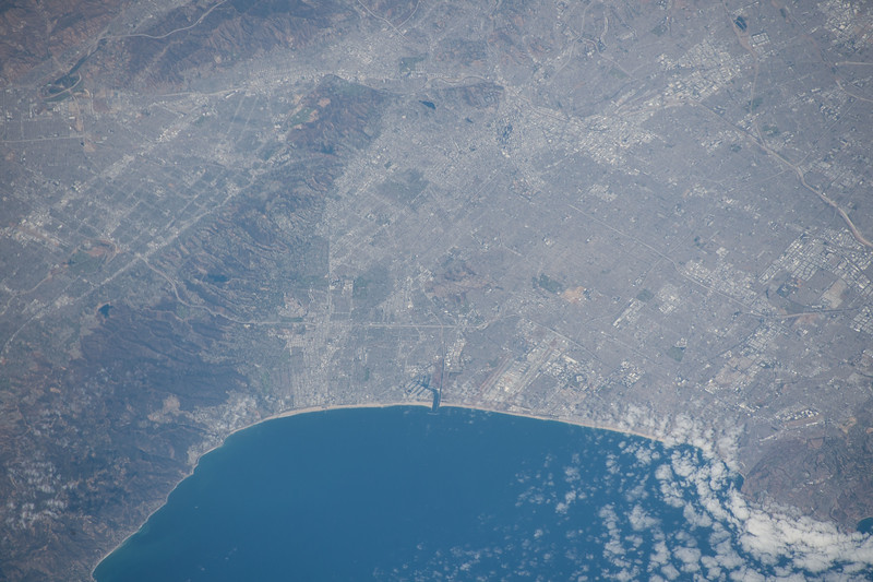 """Second largest city in the US, once a colony of Spain, the """"City of Angels."""" ISS over the eastern Pacific. (ANSWER: Los Angeles, California, US)"""