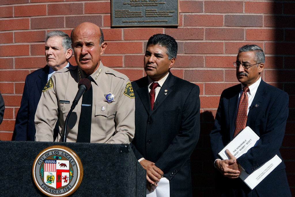 . Los Angeles County Sheriff Lee Baca speaks as Chief Probation Officer Robert Taylor, Los Angeles City Councilman Tony Cardenas, and Rep. Robert Scott of Virginia, Chairman of the House Judiciary Subcommittee on Crime, Terrorism and Homeland Security, stand behind him during a press conference to support Scott\'s  Youth PROMISE Act at Barry J. Nidorf Juvenile Hall in Sylmar, CA February 19, 2009. The Youth PROMISE Act will provide resources to communities to engage in comprehensive prevention and intervention strategies to decrease juvenile delinquency and criminal street gang activity.(Hans Gutknecht/L.A. Daily News)
