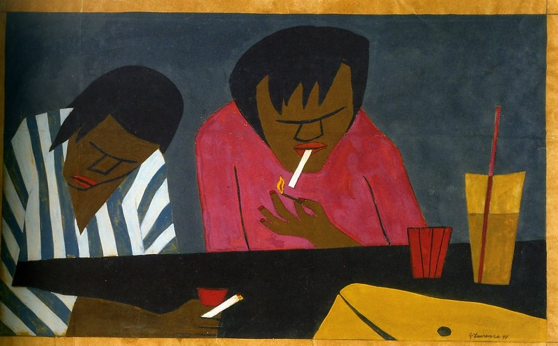 "Jacob Lawrence, ""Two People in a Bar"" (1941)"