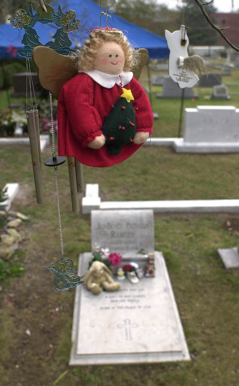 . The grave of JonBenet Ramsey, is shown decorated Monday, Dec. 17, 2001, at the St. James Episcopal Church in Marietta, Ga.  People have been hanging ornaments on a tree near the grave. (AP Photo/Atlanta Journal Constitution, Andy Sharp)