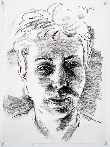 Portrait study - Carol R; charcoal, 22 x 30 in, 1996