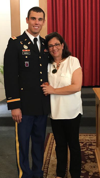"Felipe Anciola, U.S. Army captain, son of Gabriela Anciola. Gabriela says, ""Felipe Anciola is a graduate of the United States Military Academy at West Point Class of 2013. He majored with a Bachelor of Science in Engineering Management. He is an Army Ranger and served in Afghanistan in 2015 where he earned the Purple Heart award. Felipe is a former Vista Ridge Ranger, class of 2008."""