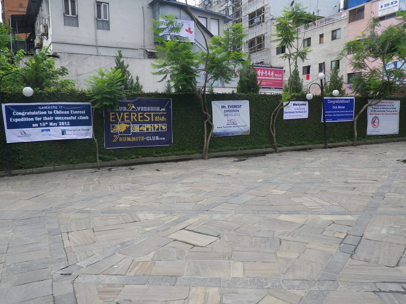 Congratulation posters in front of our Yak & Yeti hotel on May 26.
