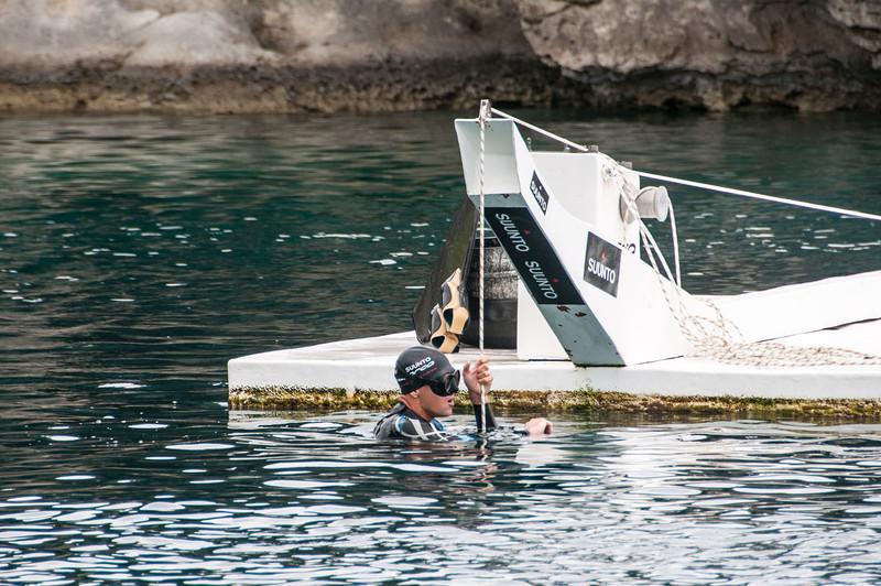 Diver at Dean's Blue Hole, Long Island, Bahamas