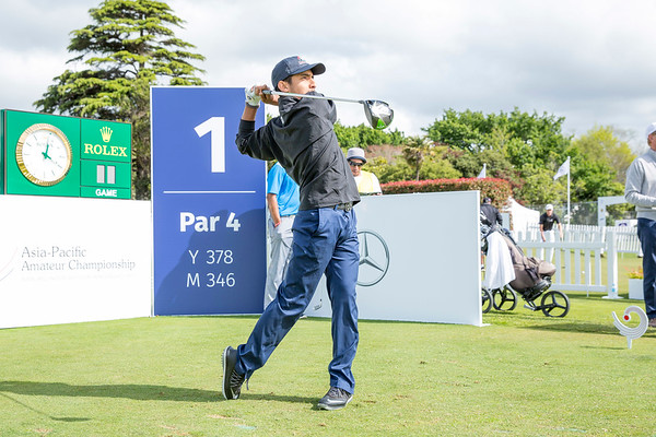 Mohammad Al Hajeri from United Arab Emirates hitting off the 1st tee on Day 1 of competition in the Asia-Pacific Amateur Championship tournament 2017 held at Royal Wellington Golf Club, in Heretaunga, Upper Hutt, New Zealand from 26 - 29 October 2017. Copyright John Mathews 2017.   www.megasportmedia.co.nz