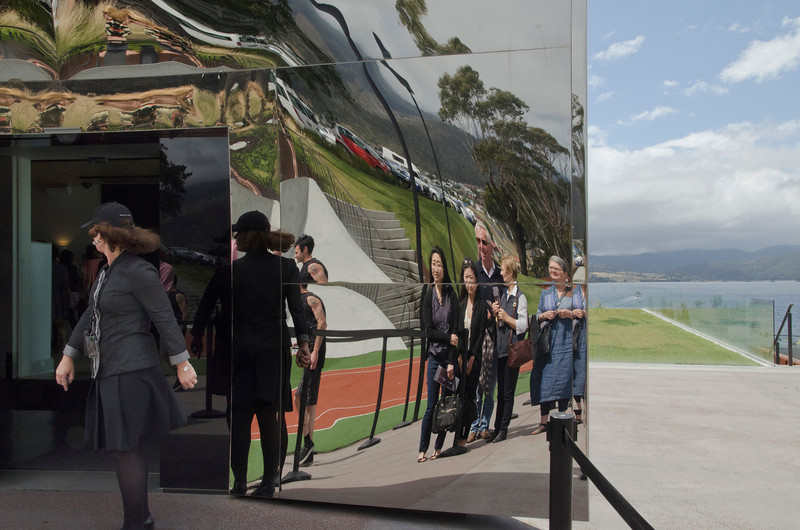 Reflecting on art (10) The entrance to MONA (Museum of New and Old Art), challenging our senses and sensibilities, 30 minutes north of Hobart by boat, has single-handedly made the city a cultural destination