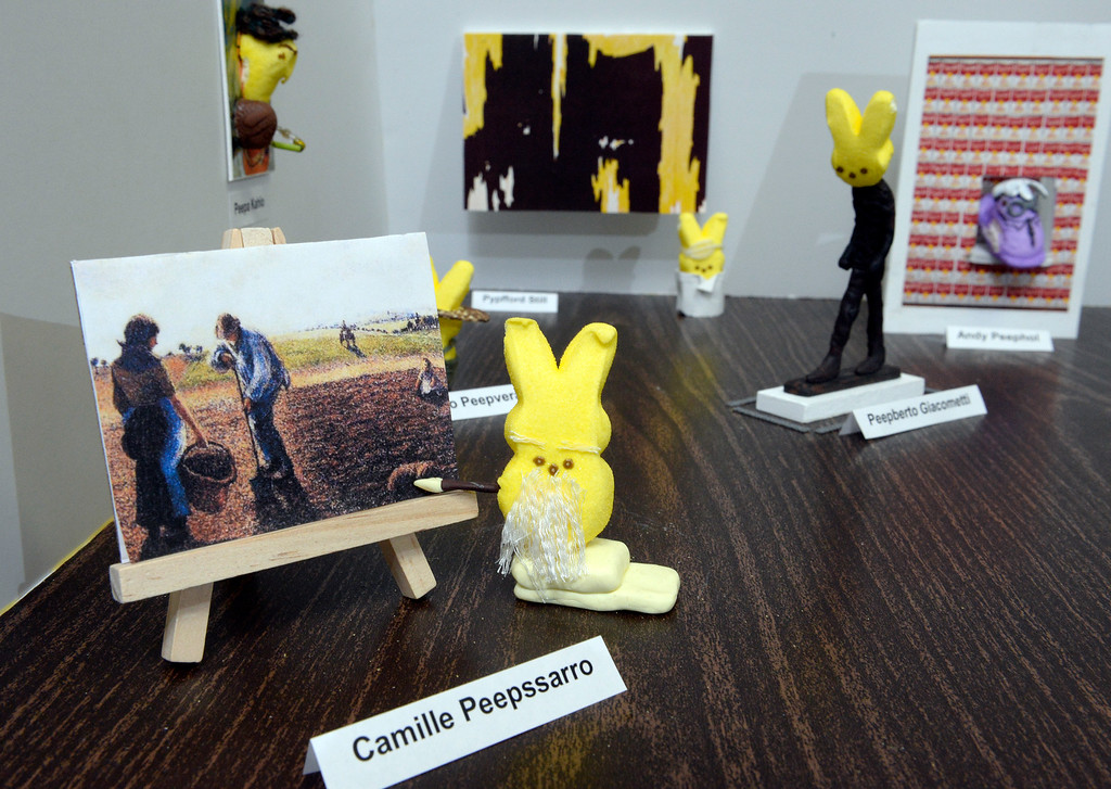 """. 1st place adult winner: Members of the Denver Art Museum\'s conservation department teamed up to create \""""Modern Peepsters\"""" Peeps diorama. It is a play on the current Modern Masters exhibit at the museum  on Wednesday, April 9, 2014. Detail of \""""Camille Peepssaro.\"""" (Denver Post Photo by Cyrus McCrimmon)"""