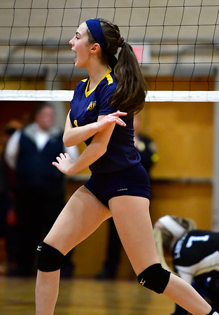 11/14/2018 Mike Orazzi   Staff Woodstock Academy's Sierra Bedard (1) during the Class L Semifinal State Girls Volleyball Tournament held at Windsor High School Wednesday night.