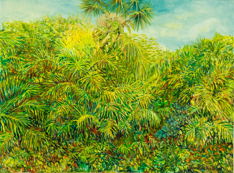 """©John Rachell  Title: The Garden, August 13, 2007 Image Size: 48"""" w by 36"""" d Dated: 2007 Medium & Support: Oil paint on canvas Signed: LR Signature"""