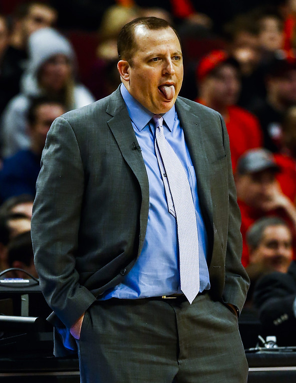 . Chicago Bulls head coach Tom Thibodeau sticks out his tongue at his teams play in the first half of their NBA game against the Denver Nuggets at the United Center in Chicago, Illinois, USA, 21 February 2014  EPA/TANNEN MAURY