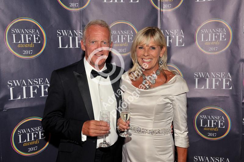 Swansea Life Awards 2017 Swansea City Legend Alan and Clare Curtis at the Brangwyn Hall for this years Swansea Life Awards.
