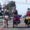 CYCLISTS TRAVELING ACROSS THE COUNTRY STOP ALONG SAN MATEO COUNTY COAST