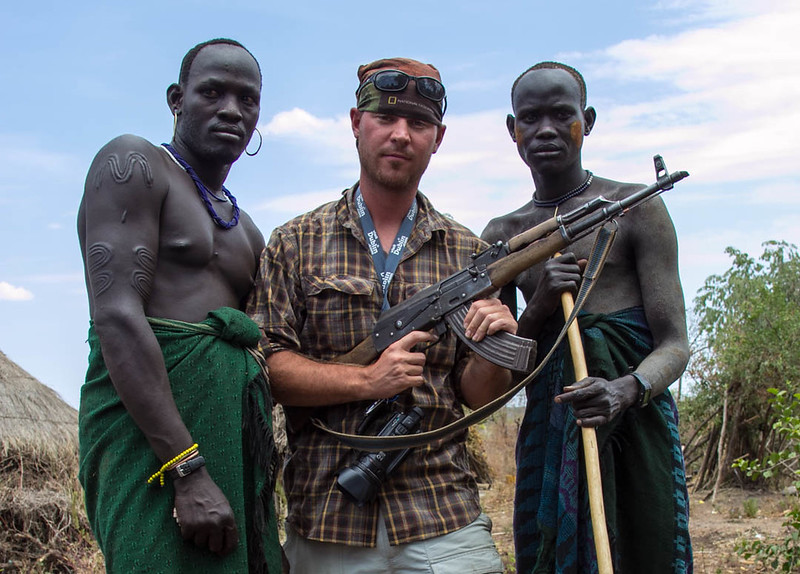 David Stock with the Mursi Tribe in the Omo Valley Ethiopia