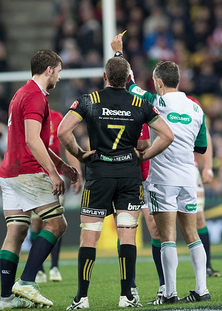 Iain Henderson yellow card during game 8 of the British and Irish Lions 2017 Tour of New Zealand,The match between  Hurricanes and British and Irish Lions, Westpac Stadium, Wellington, Tuesday 27th June 2017 (Photo by Kevin Booth Steve Haag Sports)  Images for social media must have consent from Steve Haag