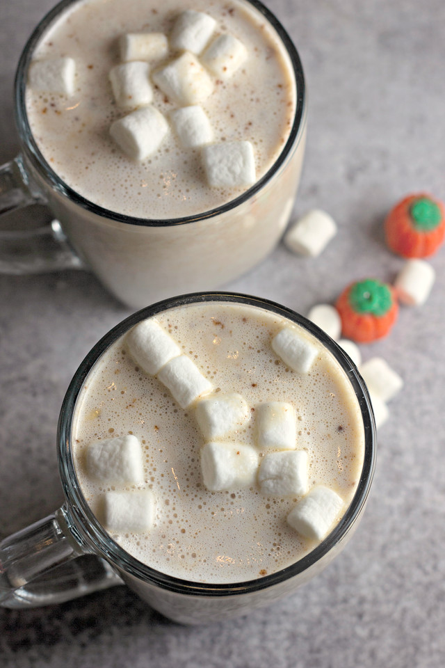This delicious Pumpkin White Hot Chocolate recipe tastes like pumpkin pie in a mug! It's sweet, but not too sweet, and packed with pumpkin and spice flavor.